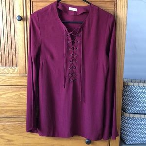 Maroon long sleeved LF blouse, size M